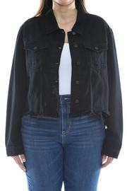 Plus Size Uneven black wash frayed fitted jacket.