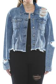 Plus Size Uneven frayed destroy acid fitted jacket.