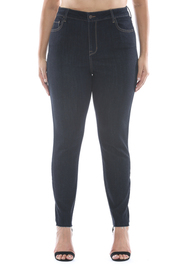 Plus Size High rise dark wash straight cut ankle skinny.