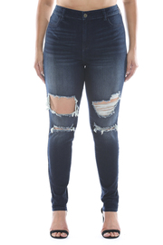 Plus Size High rise medium wash distressed super skinny.