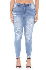 Plus Size High rise frayed hem distress crop skinny.