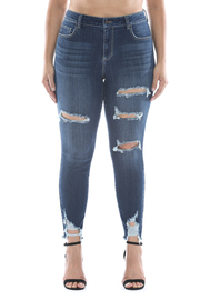 Plus Size Mid rise dark wash destroyed crop skinny.