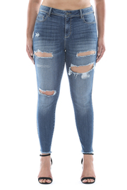 Plus Size Mid rise frayed hem distress crop skinny.
