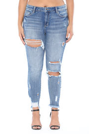 Plus Size Mid rise distress crop skinny.