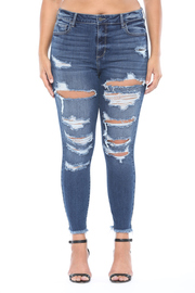 Plus Size High rise dark wash frayed hem distress crop skinny.