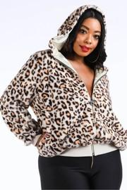 Plus Size Leopard faux fur hoodie.