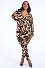 Plus Size Tiger skin jumpsuit.