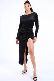 Velvet maxi dress.