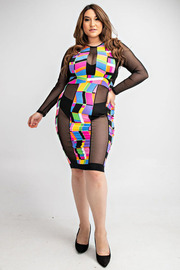 Plus Size Color block dress with mesh insets.