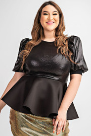 Plus Size Short slv sequins peplum top.