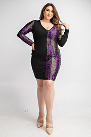 Sequins color block long slv dress.