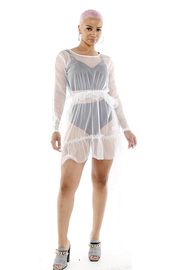 Look inside sheer mesh dress with ruffle.