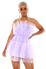 Mesh sheer flounce tube mini dress.