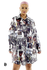 Loose fit graphic shirts dress.