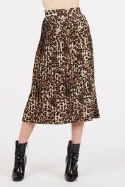 A pleated, animal print midi skirt with a hidden, back zipper closure.