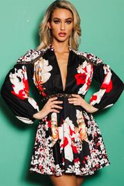 Oriental flower print black swing dress