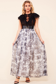 This contrast wild life print maxi dress