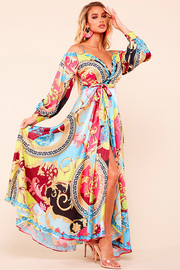 Lux print surplice wrap dress