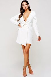 Simple yet imposing. This ivory unbalanced wrap long sleeve dress
