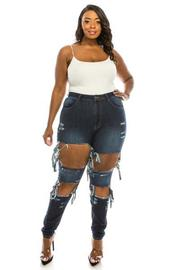 Plus Size Jean with heavy distresson front.