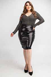Plus Size Knee length pencil skirt.