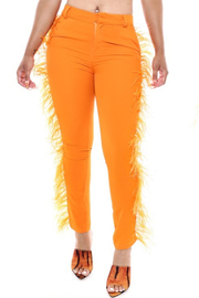 Colorful solid pant with fringe side.