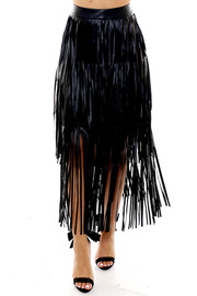 Leather skirt with fringe.
