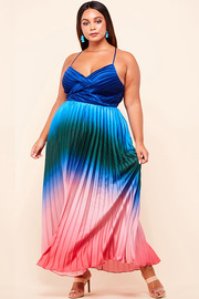 Plus Size a dip dyed rainbow maxi dress.