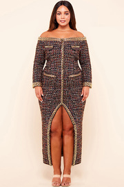 Plus Size Chunky gold chain accent tweed off the shoulder maxi dress.