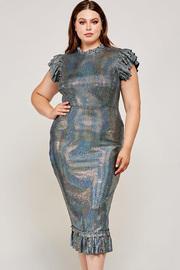 Plus Size Midi mockneck dress in a stretchy black fabric.