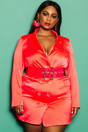 Plus Size Neon coral satin tuxedo dress.
