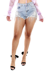 Rhinestone fringe distressed frayed denim short.