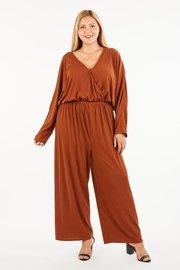 Plus Size knit long sleeve wrap front jumpsuit.