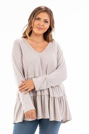 Plus Size V neck tiered peplum long sleeve shirt.