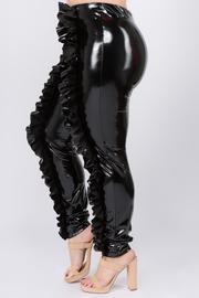 Plus Size Ruffle latex leggings.