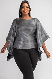 Plus Size Trans batwing slv top.