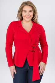 Plus Size Blazer Jacket with side Belt