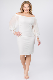 Plus Size Off the shoulder mesh ruffle long sleeve with cuff sleeves midi dress
