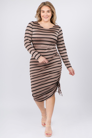 Plus Size Boat Neck Long Sleeve Bodycon Dress
