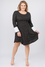 Plus Size Shift dress with Tuxedo Sleeve Cuffs