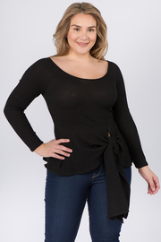 Plus Size Boat Neck Long Sleeve top with waist tie