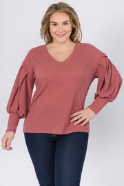 Plus Size V Neck Top with Ruffled cuff sleeves
