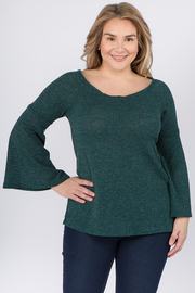 Plus Size Boat Neck long sleeve with Bell sleeves top