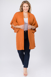 Plus Size Short Flared Sleeve Cardigan