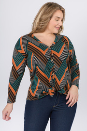 Plus Size Print Deep V neck with Long Sleeve Buttons and Front tie