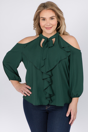 Plus Size Open Shoulder Halter Top with Long Sleeves