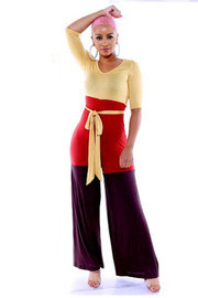 Colorblock jumpsuit with front waist tie.