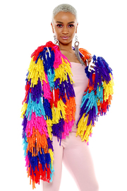 Colorful fringe knit cardigan.