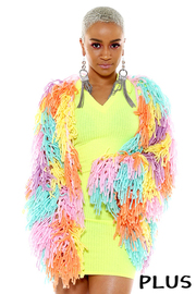 Plus Size Colorful fringe knit cardigan.