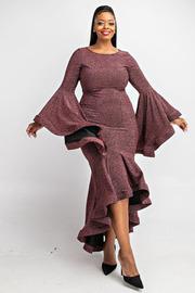 Plus Size Flounce long slv mermaid dress.